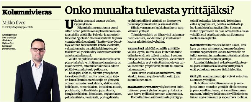 Kuva Kauppalehdessä 30.11.2015 julkaistusta Mikko Ilveksen kolumnista.