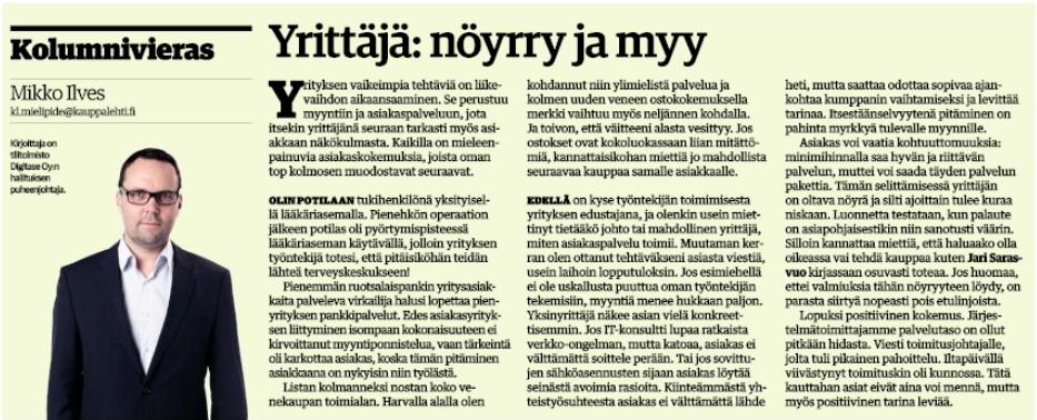 Yrittäjä: Nöyrry ja myy -niminen koulumni, joka julkaistiin Kauppalehdessä 22.2.2016